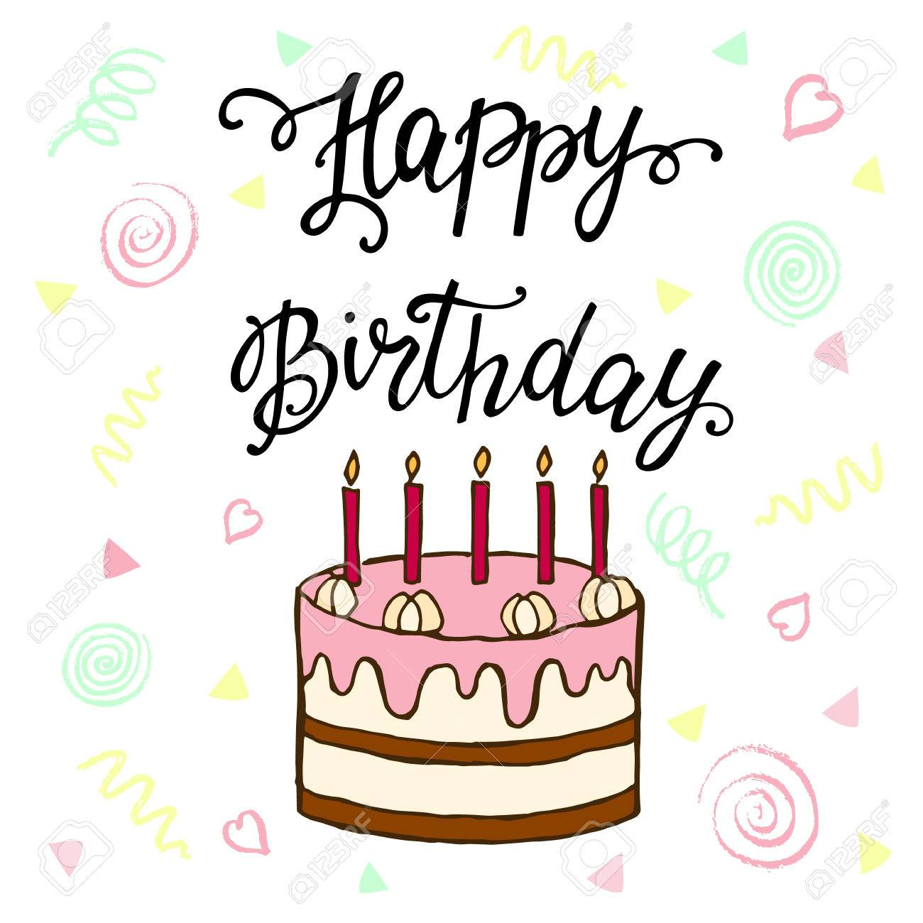 Happy birthday lettering and sweet cake illustration for greeting happy birthday lettering and sweet cake illustration for greeting cards menus invitations and filmwisefo