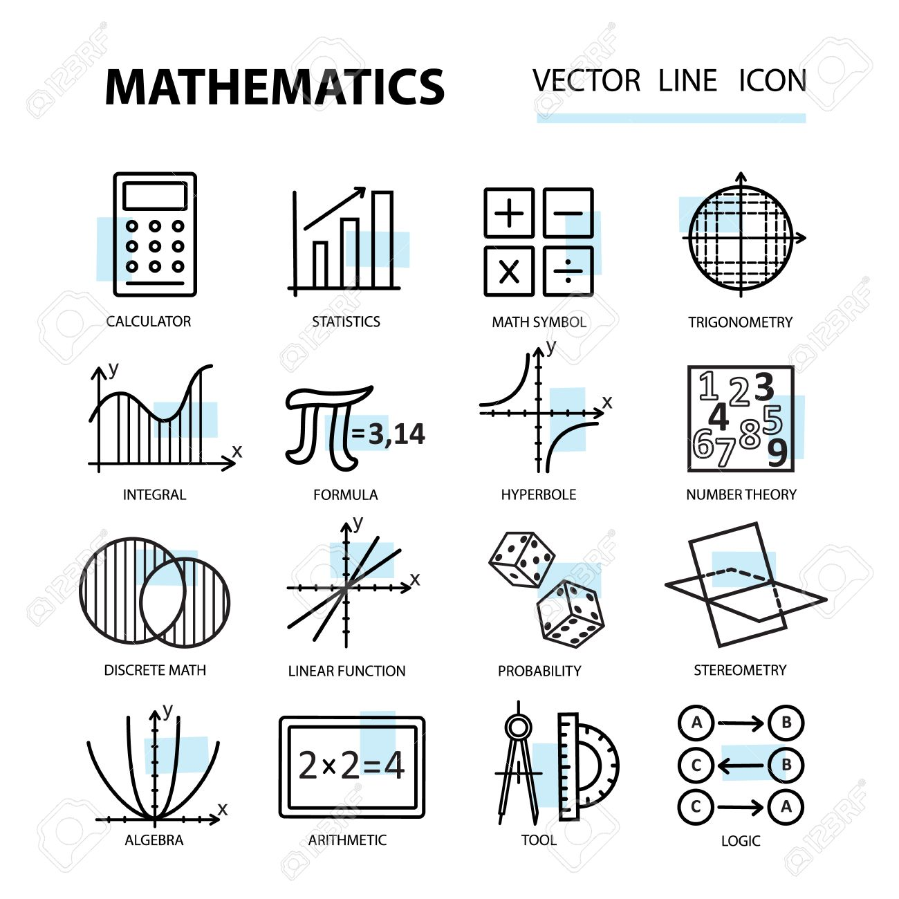Set of modern thin line icons for math illustration with set of modern thin line icons for math illustration with different elements on the subject buycottarizona