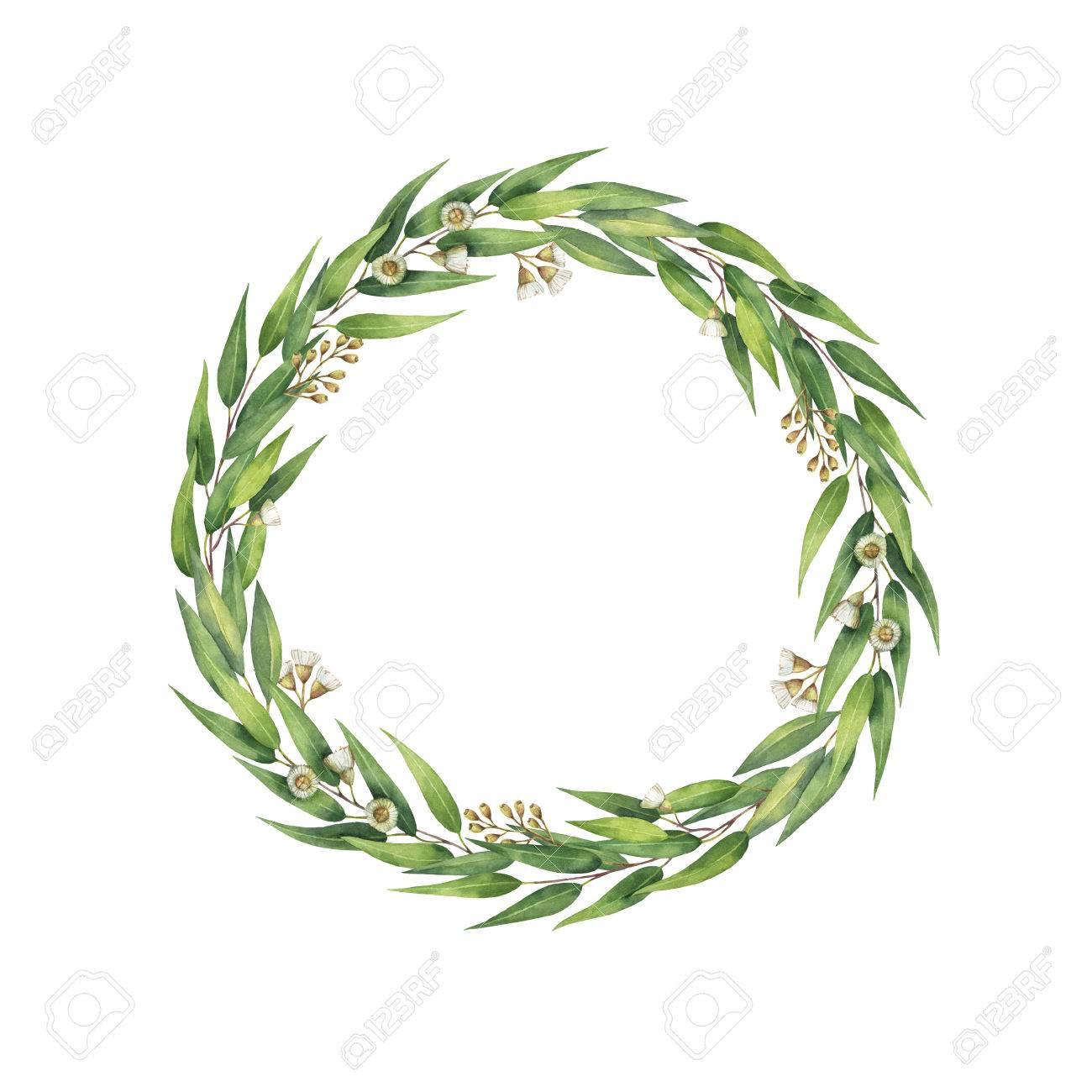 aquarelle couronne ronde à la main avec des feuilles et des branches