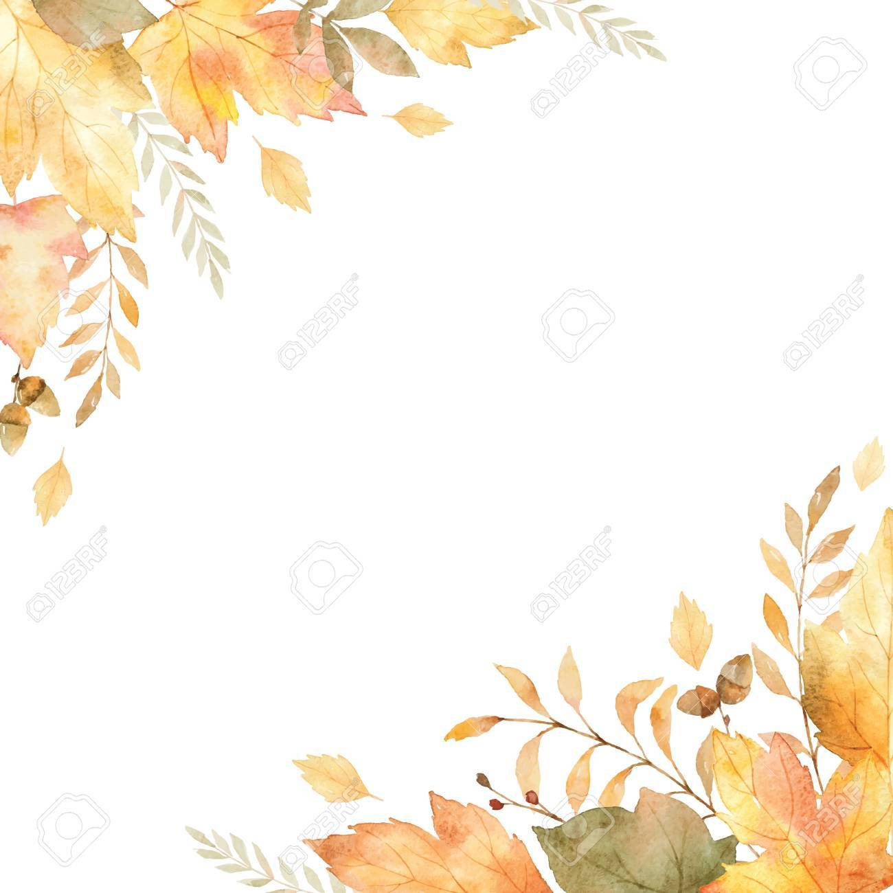 Watercolor vector frame of leaves and branches isolated on white background. - 85132442
