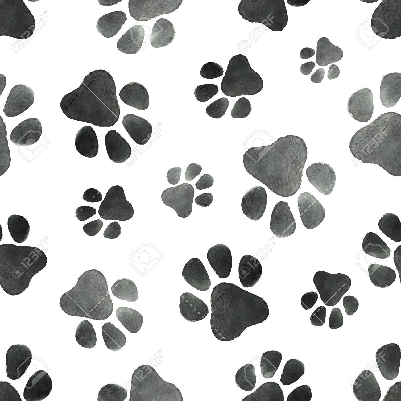 Watercolor Vector Seamless Pattern With The Imprint Of Dog Paws. Stock  Photo, Picture And Royalty Free Image. Image 87236539.