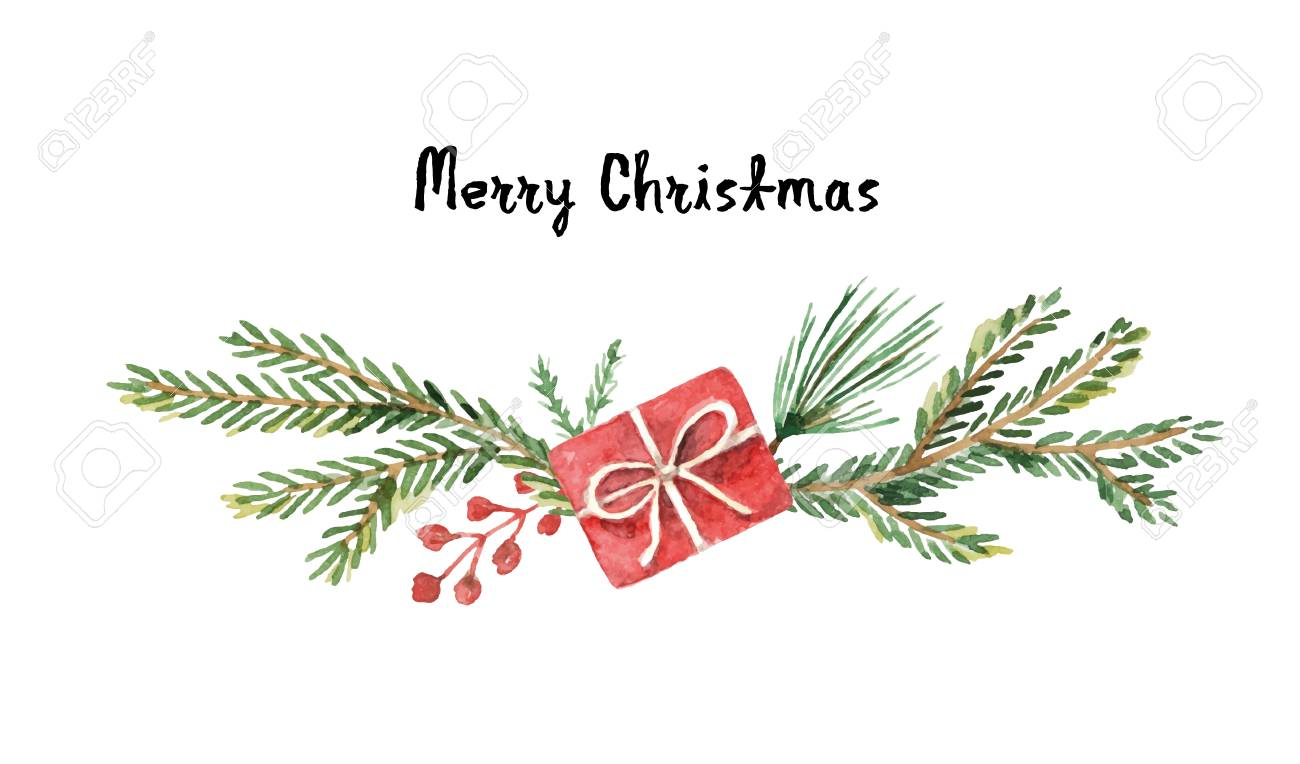 Watercolor vector Christmas wreath with fir branches and place for text. - 87419339