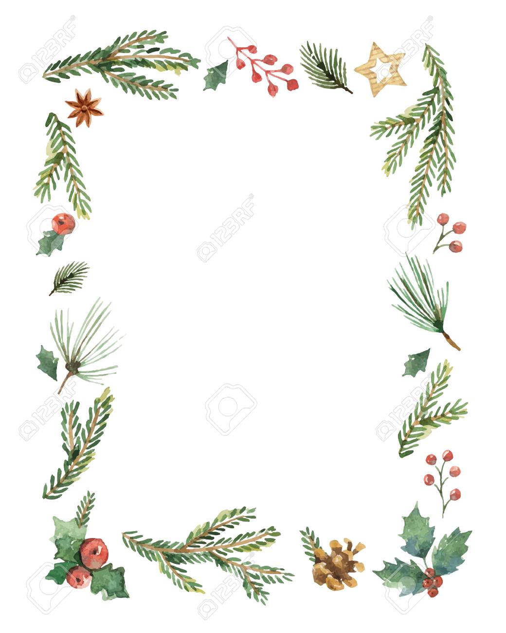 Christmas Frame.Watercolor Vector Christmas Frame With Fir Branches And Place