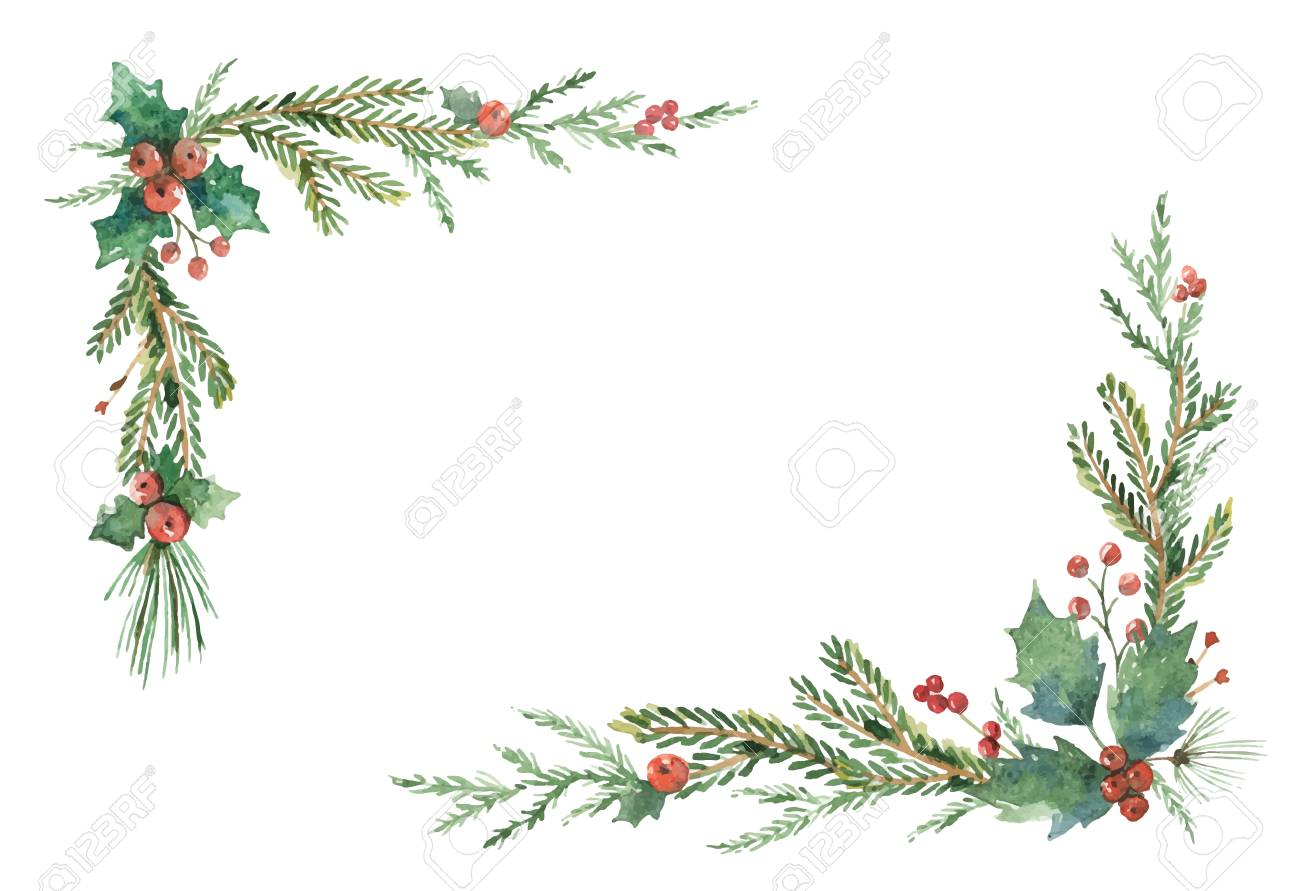 Watercolor vector Christmas frame with fir branches and place for text. - 88128837