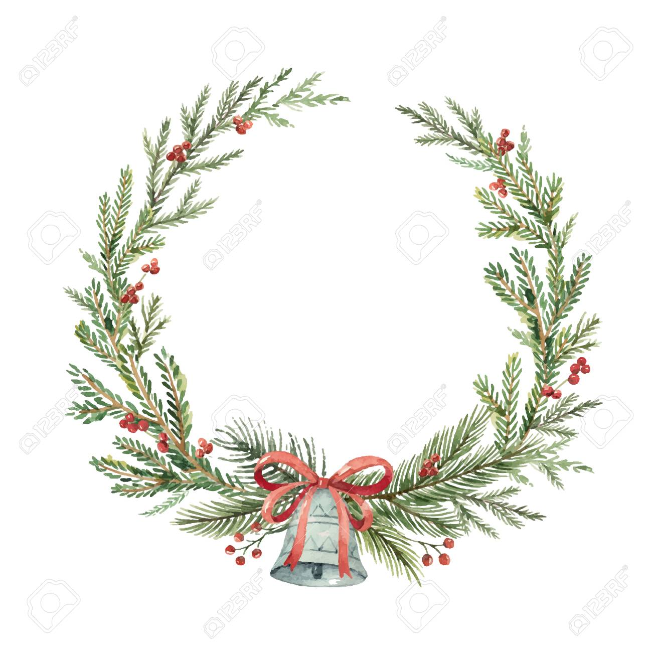 Christmas Wreath Clipart.Watercolor Christmas Wreath With Bell Illustration