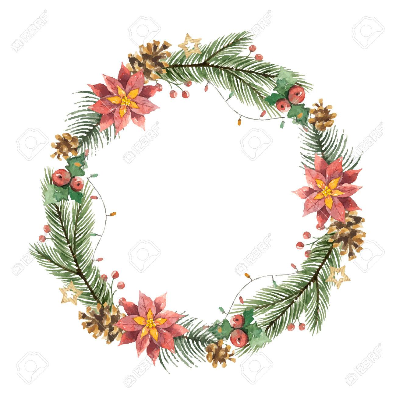 Watercolor Christmas Wreath With Bell Illustration Royalty Free