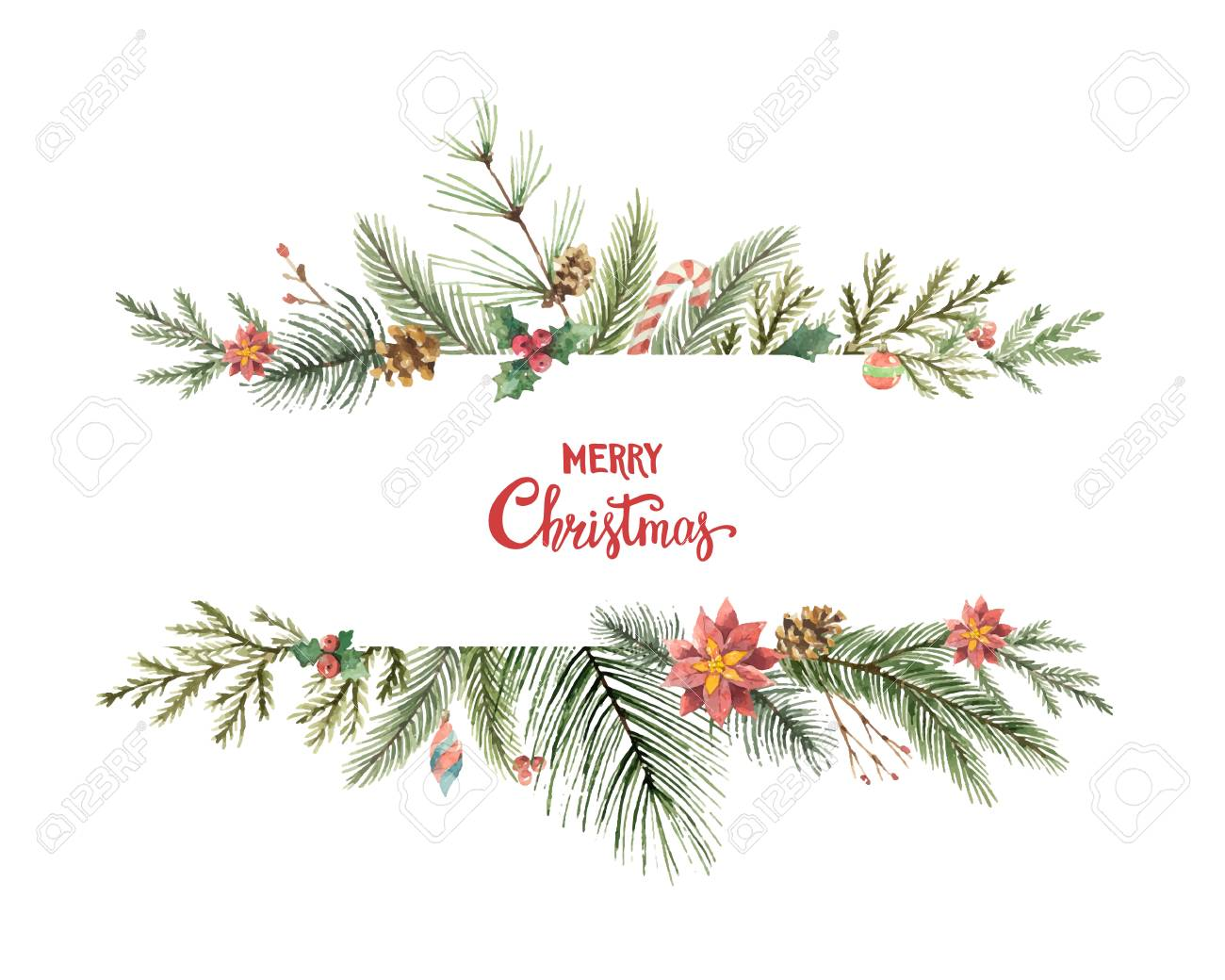 Watercolor vector Christmas banner with fir branches and place for text. - 88693971