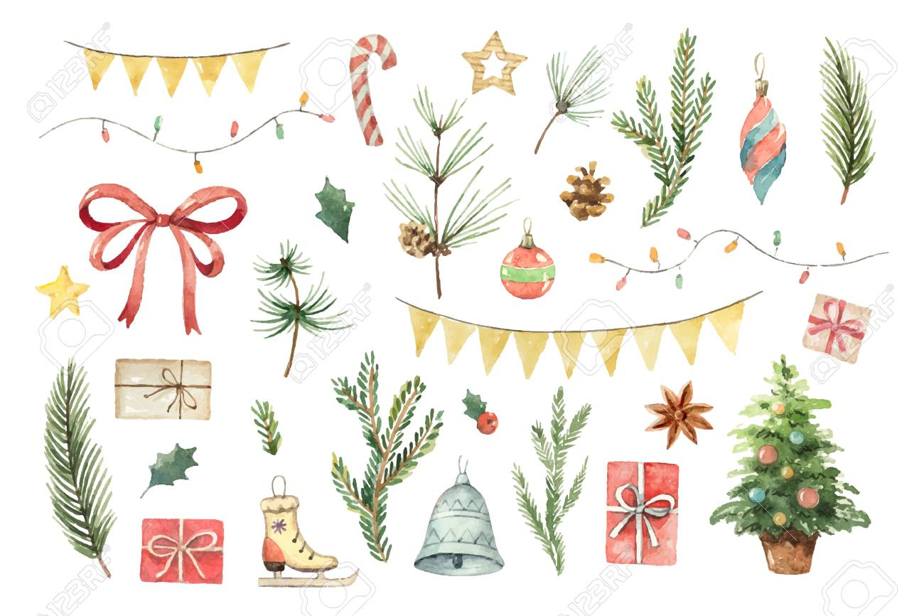 Watercolor vector Christmas set with fir branches, balls, gifts, garlands and bow. - 89179005