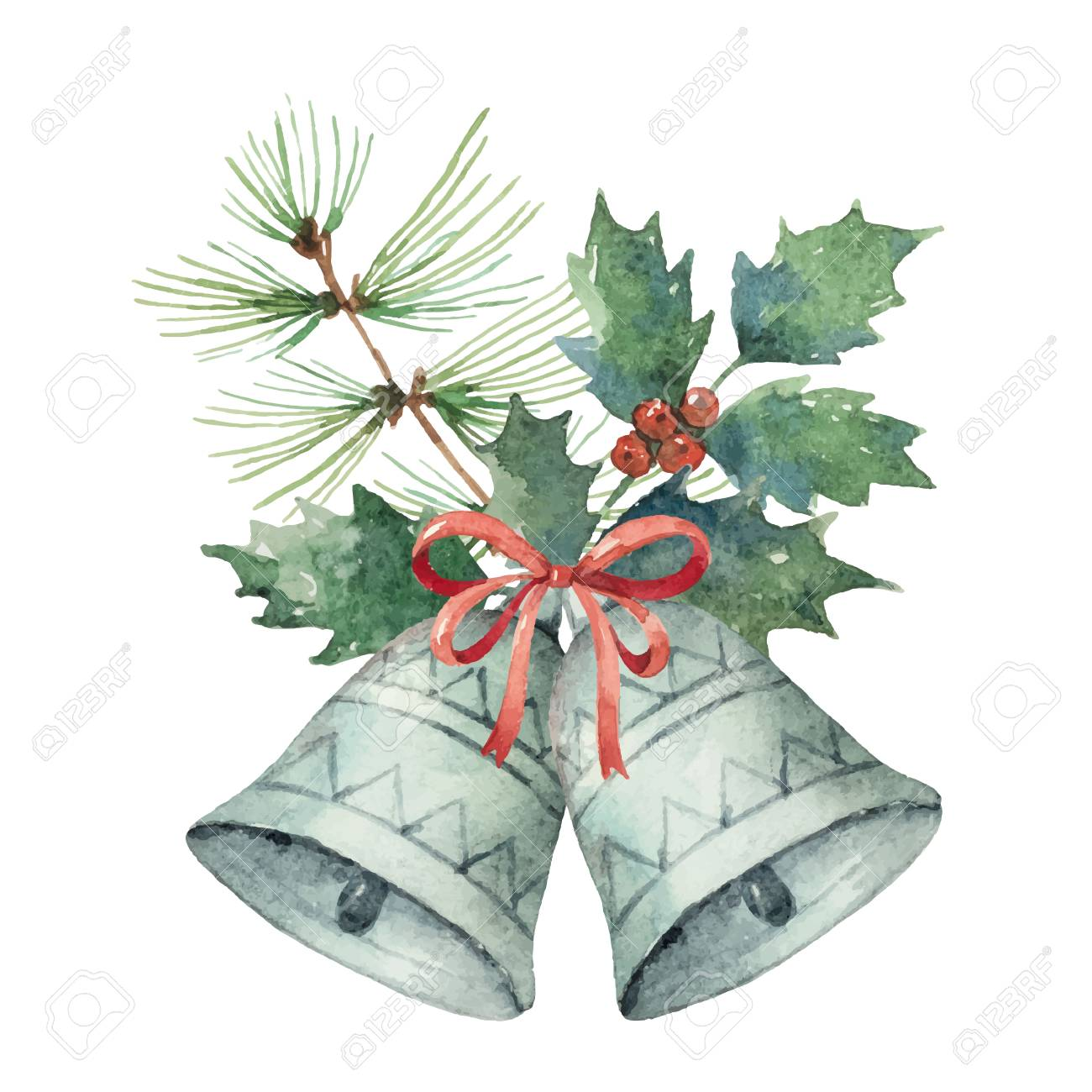 Watercolor Christmas vector bouquet with bell and fir branches. Illustration for greeting cards and invitations isolated on white background. - 89608259