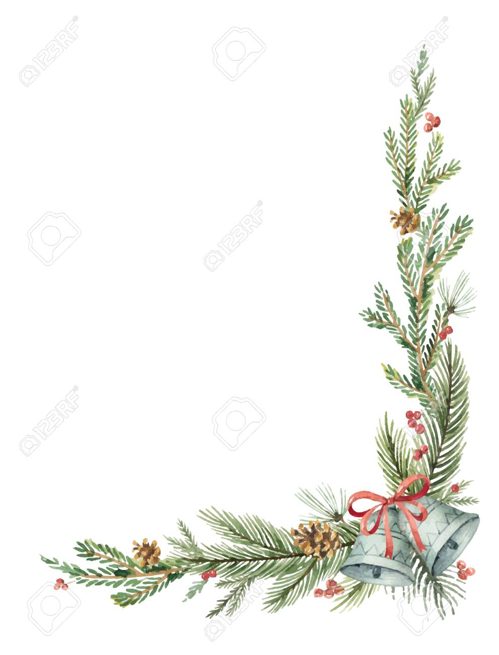 Watercolor vector Christmas decorative corner with fir branches and bells. - 89761165