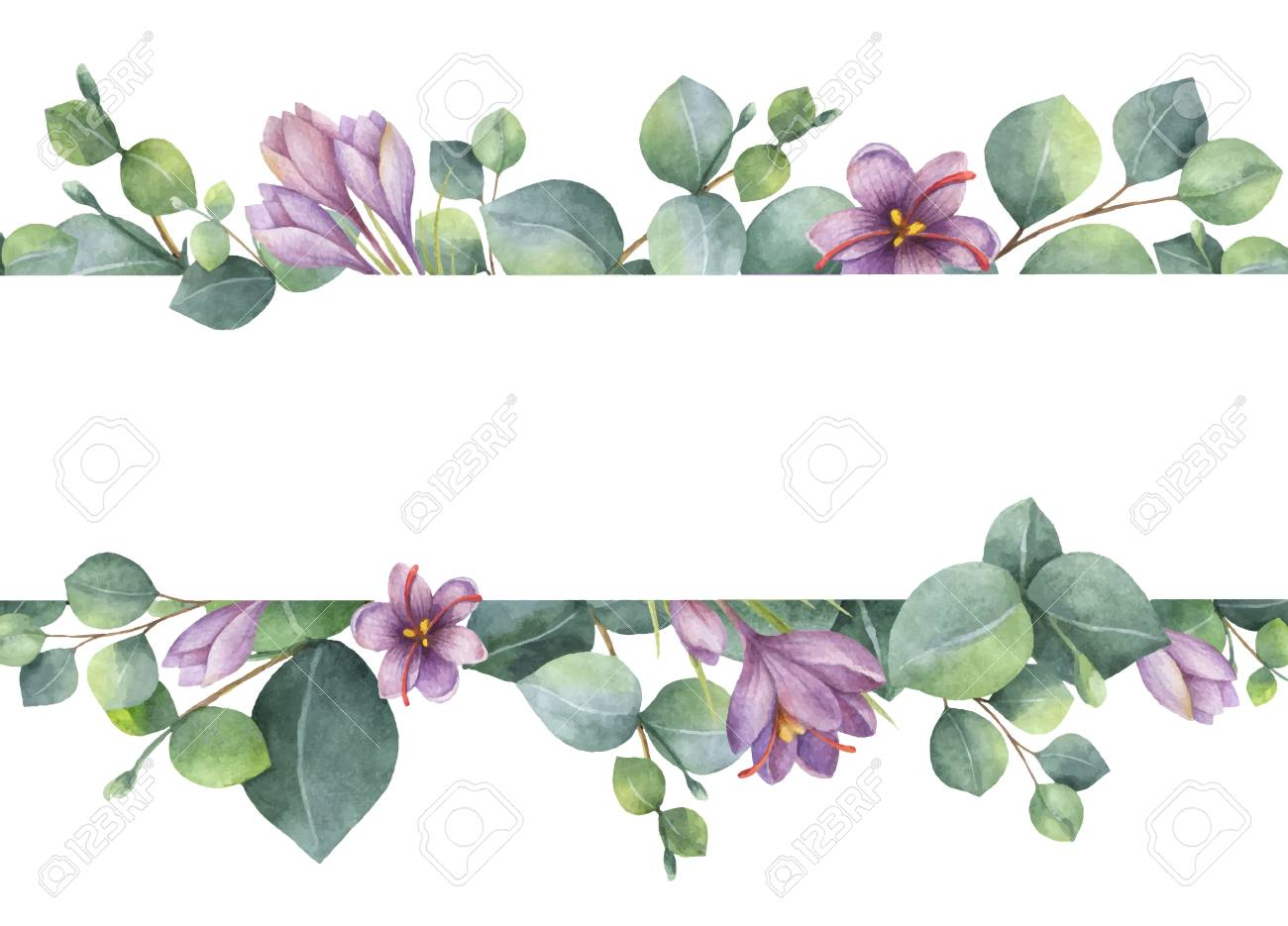 Watercolor vector wreath with green eucalyptus leaves, purple flowers and branches. - 94814221