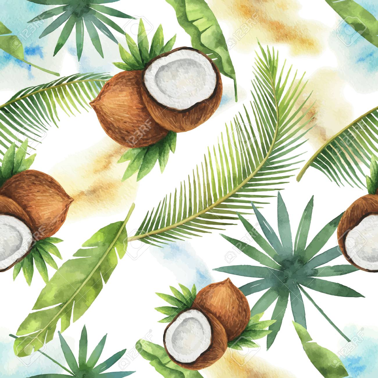 Watercolor vector seamless pattern of coconut and palm trees isolated on white background. - 102619089
