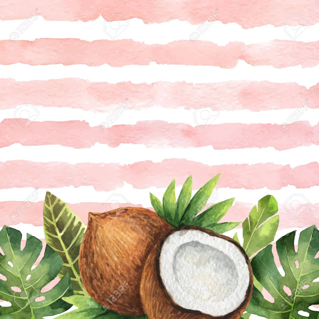 Watercolor Vector Banner Tropical Leaves And Coconut Isolated Royalty Free Cliparts Vectors And Stock Illustration Image 106955628 A wide variety of artificial tropical leaves options are available to you, such as material, occasion, and plant type. watercolor vector banner tropical leaves and coconut isolated