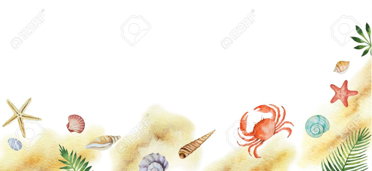 Watercolor vector colorful seashells and tropical leaves isolated on a white background. - 106955635