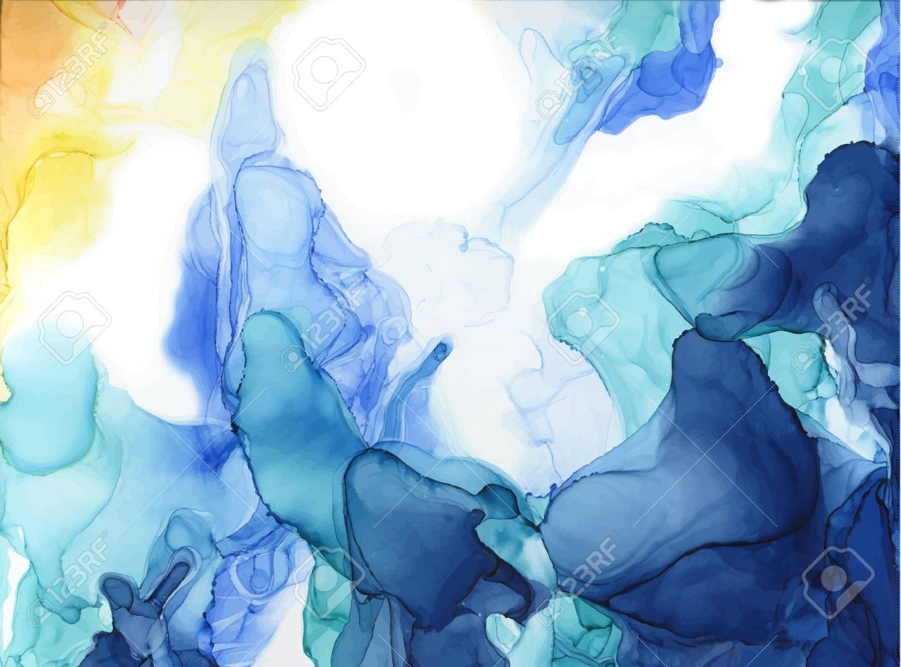Abstract color ink background. Marble style. Hand painted vector illustration for your design. - 112223911