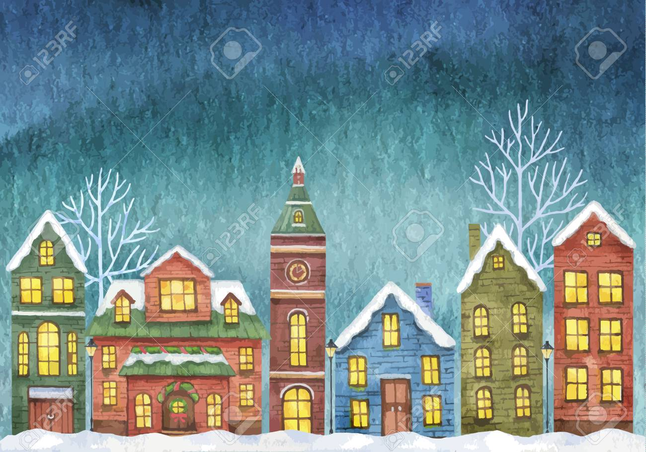 Winter with houses on night sky - 110998942