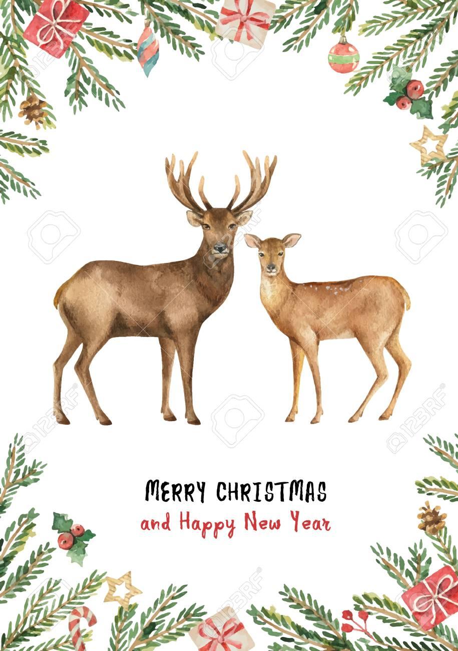 Christmas Reindeer with a green fir branch. - 110998946