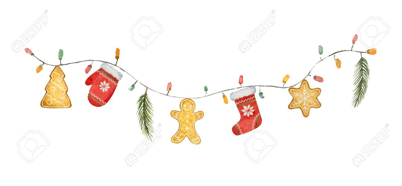 Watercolor vector Christmas garland with lights and gifts. Illustration for greeting cards and invitations isolated on white background. - 113998166