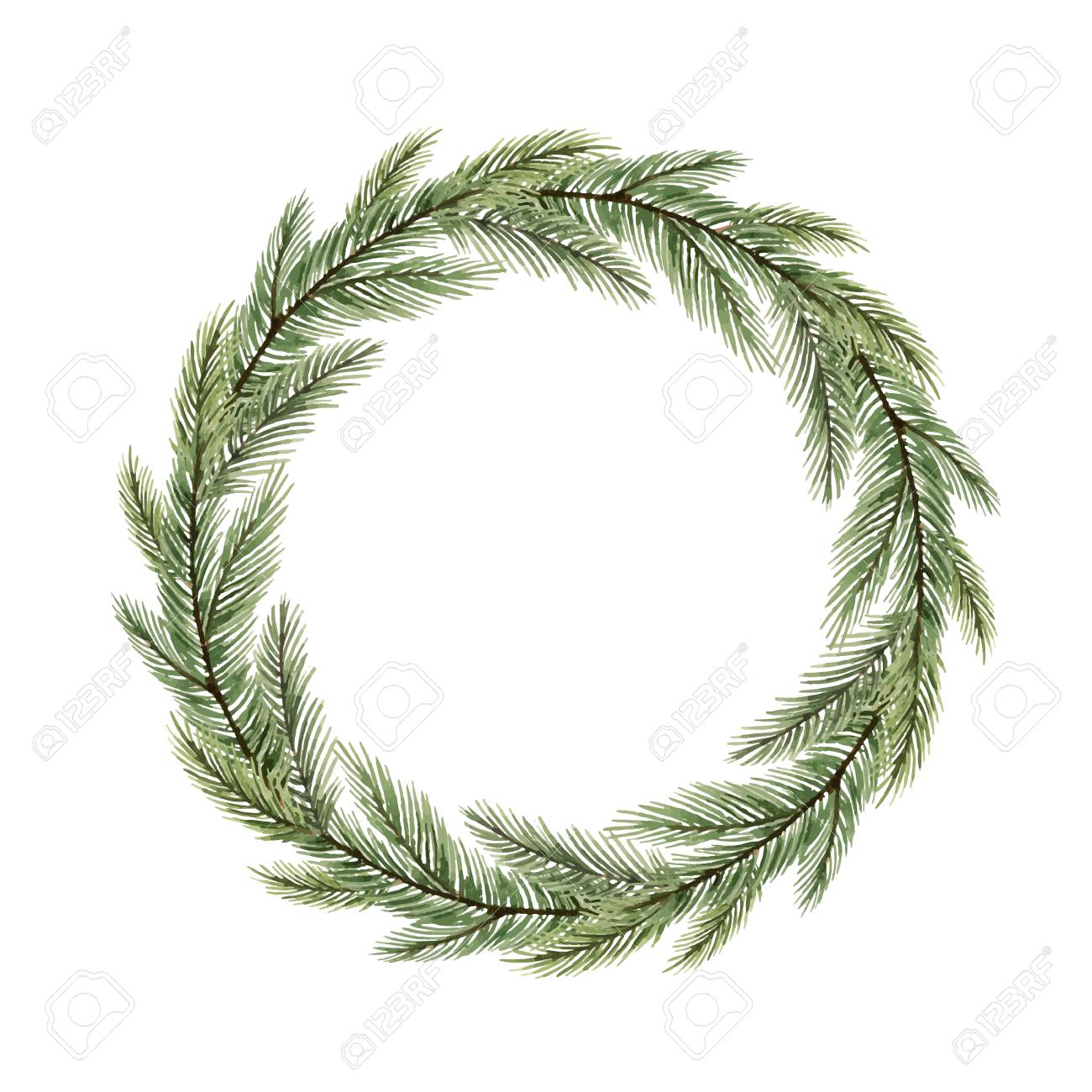 Watercolor vector Christmas wreath with fir branches and place for text. Illustration for greeting cards and invitations isolated on white background. - 126448509
