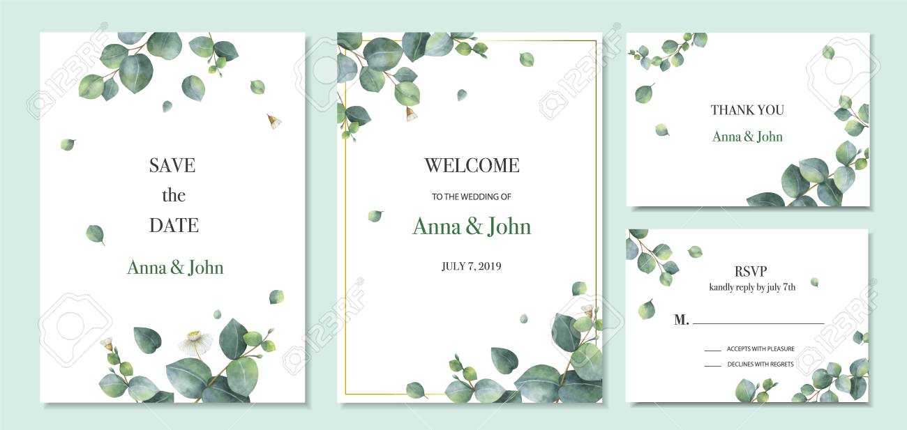 Watercolor vector set wedding invitation card template design with green eucalyptus leaves. Illustration for cards, save the date, greeting design, floral invite. - 125300021