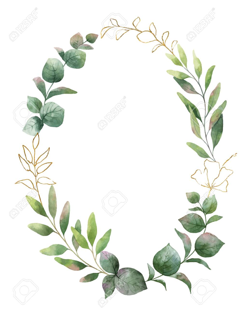 Watercolor wreath with green eucalyptus leaves and flower - 121574645