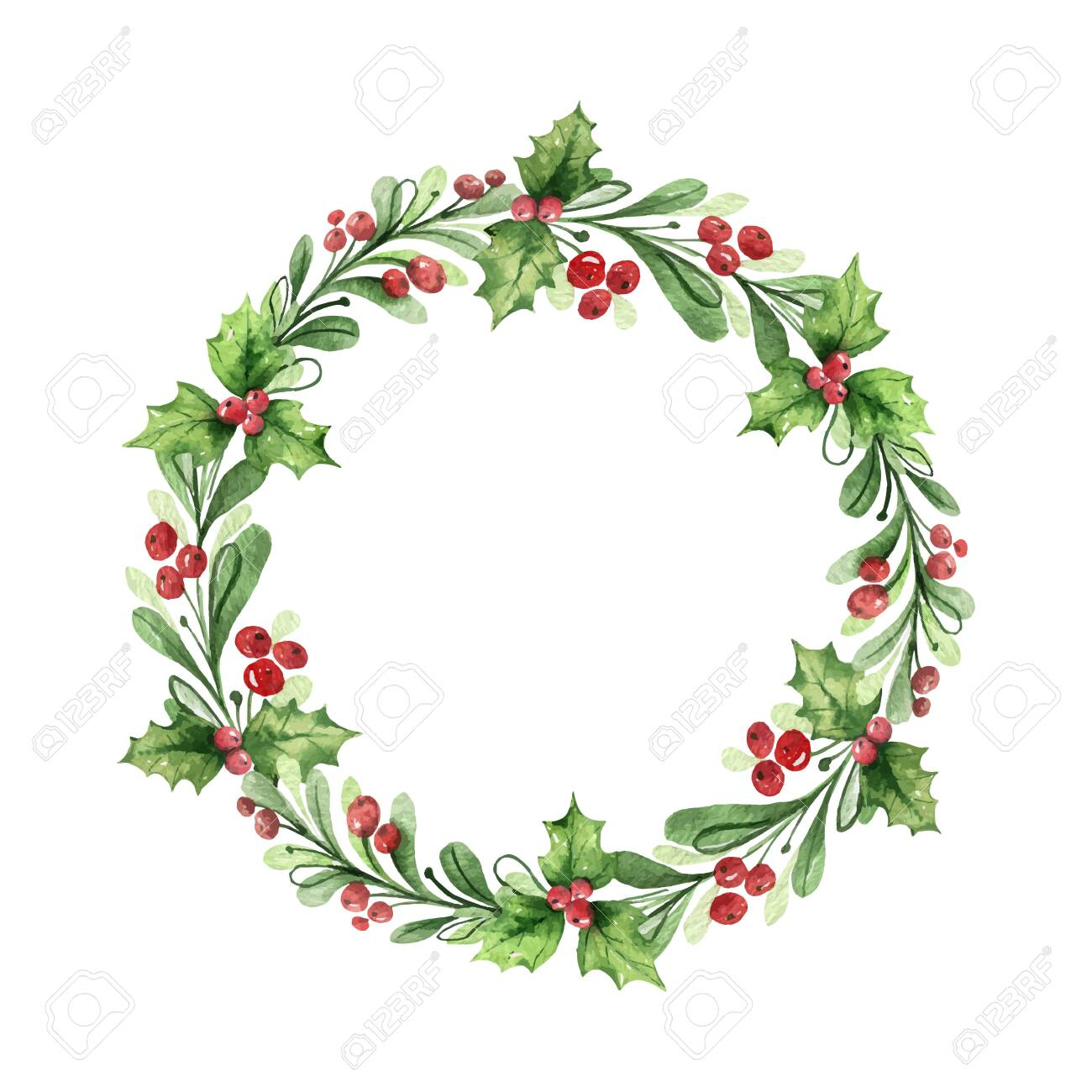 Watercolor vector Christmas wreath with green branches and red berries. Illustration for greeting floral postcard and invitations isolated on white background. - 130047650