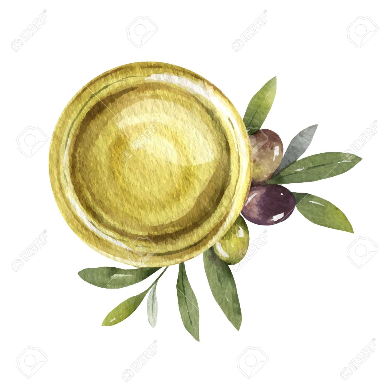 Watercolor card with olive oil bowl and branches. - 133350595
