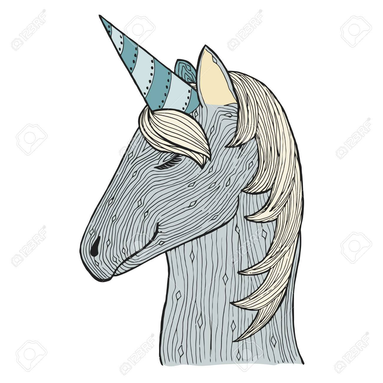 Zen Enredos Y Doodle Unicornio. Semental De Zentangle. Zendoodle ...