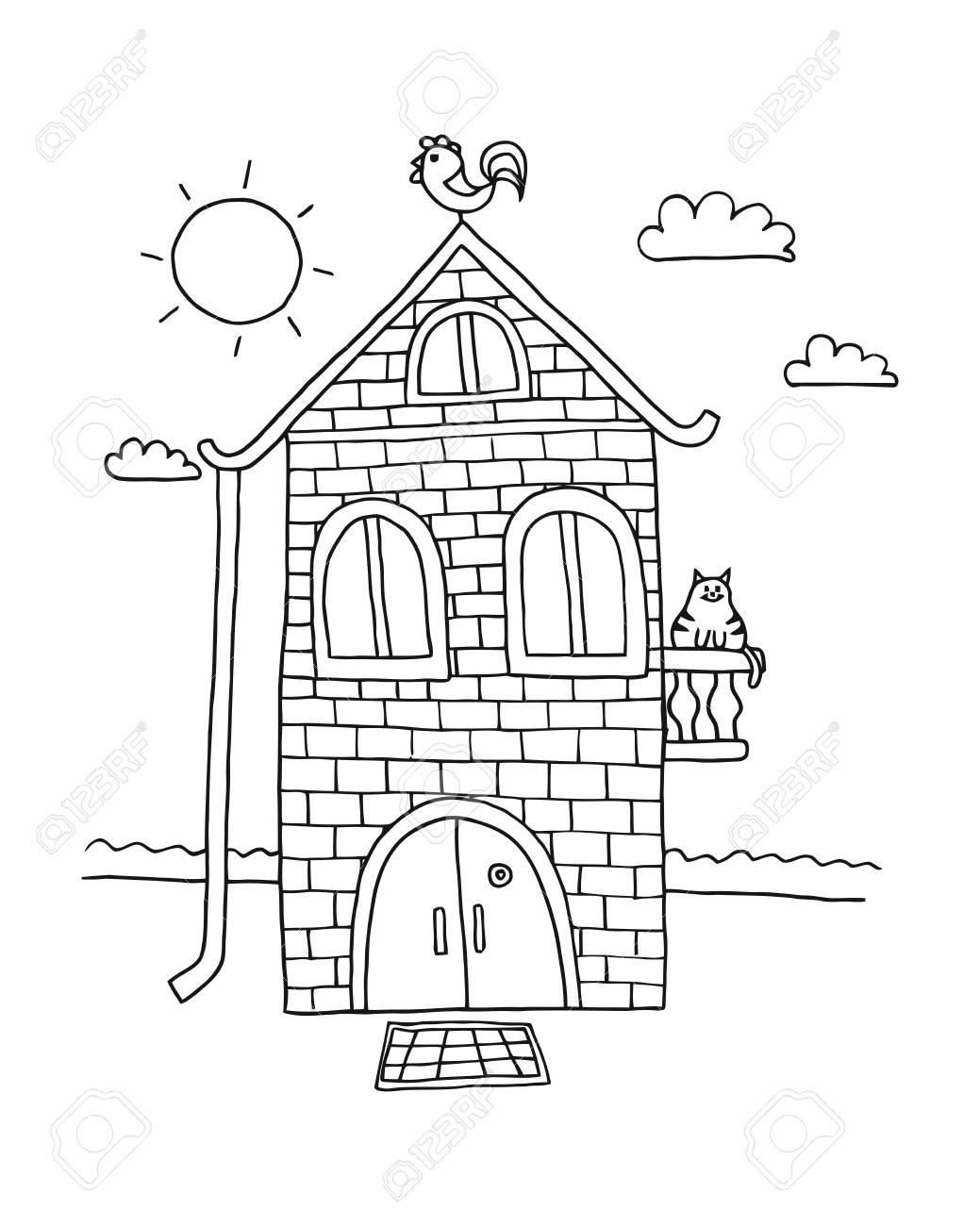 Hand Drawn Sketch Of Home. Villa Vector Illustration. House Coloring ...