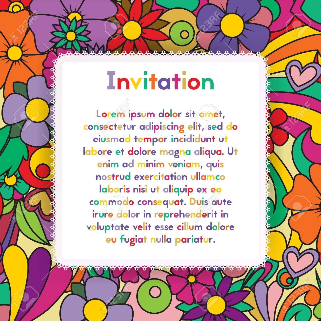 Invitacion Con Estampado De Flores Zentangle Tarjeta Zen Enredo