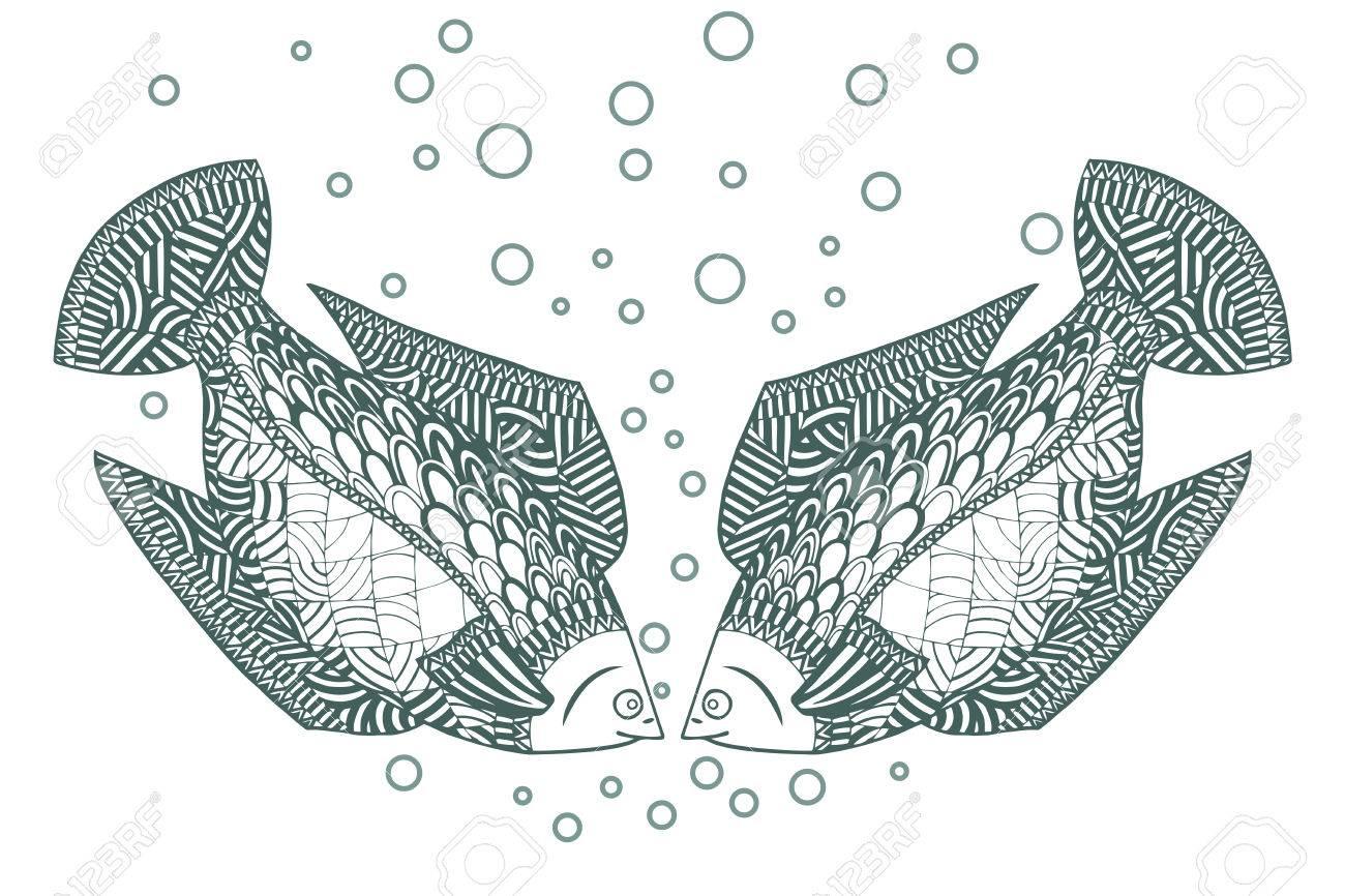 Two Fish Zen Tangle Zentangle Undersea Animals Ocean River Or Sea Wildlife Coloring