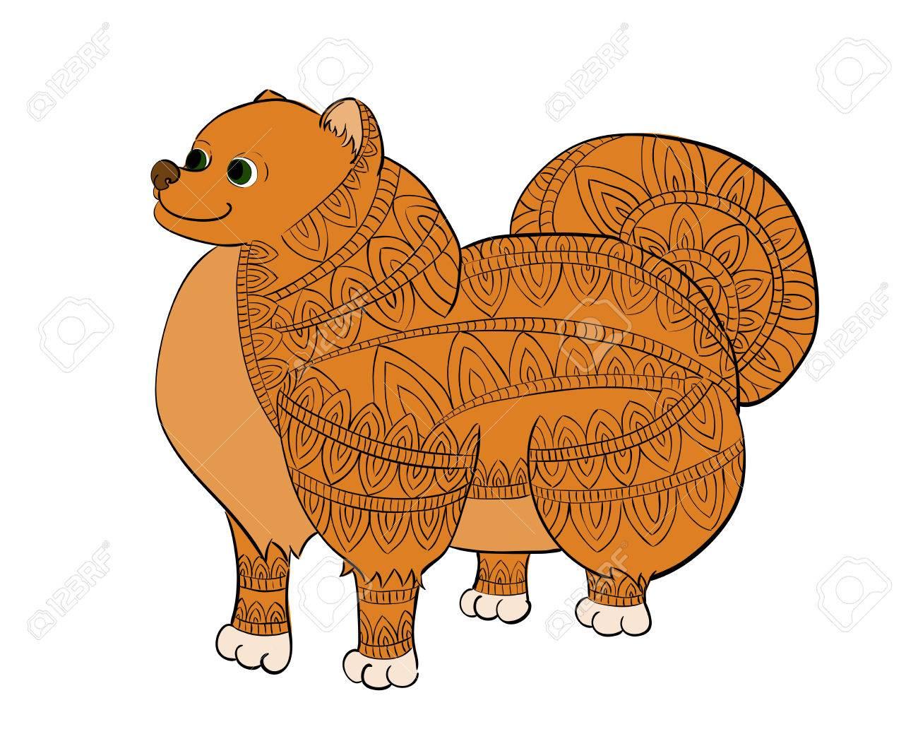 Zen Enredo Rojo Pomeranian. Zentangle Spitz Ilustración Vectorial ...