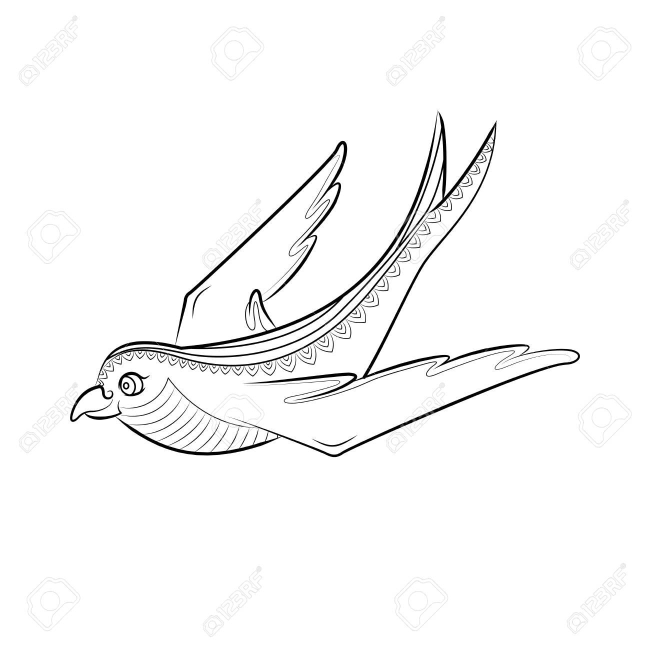 Zen Tangle Schwalbe Vektor Illustration. Zentangle Vogel schwarz und weiß.  Malbuch für Erwachsene.