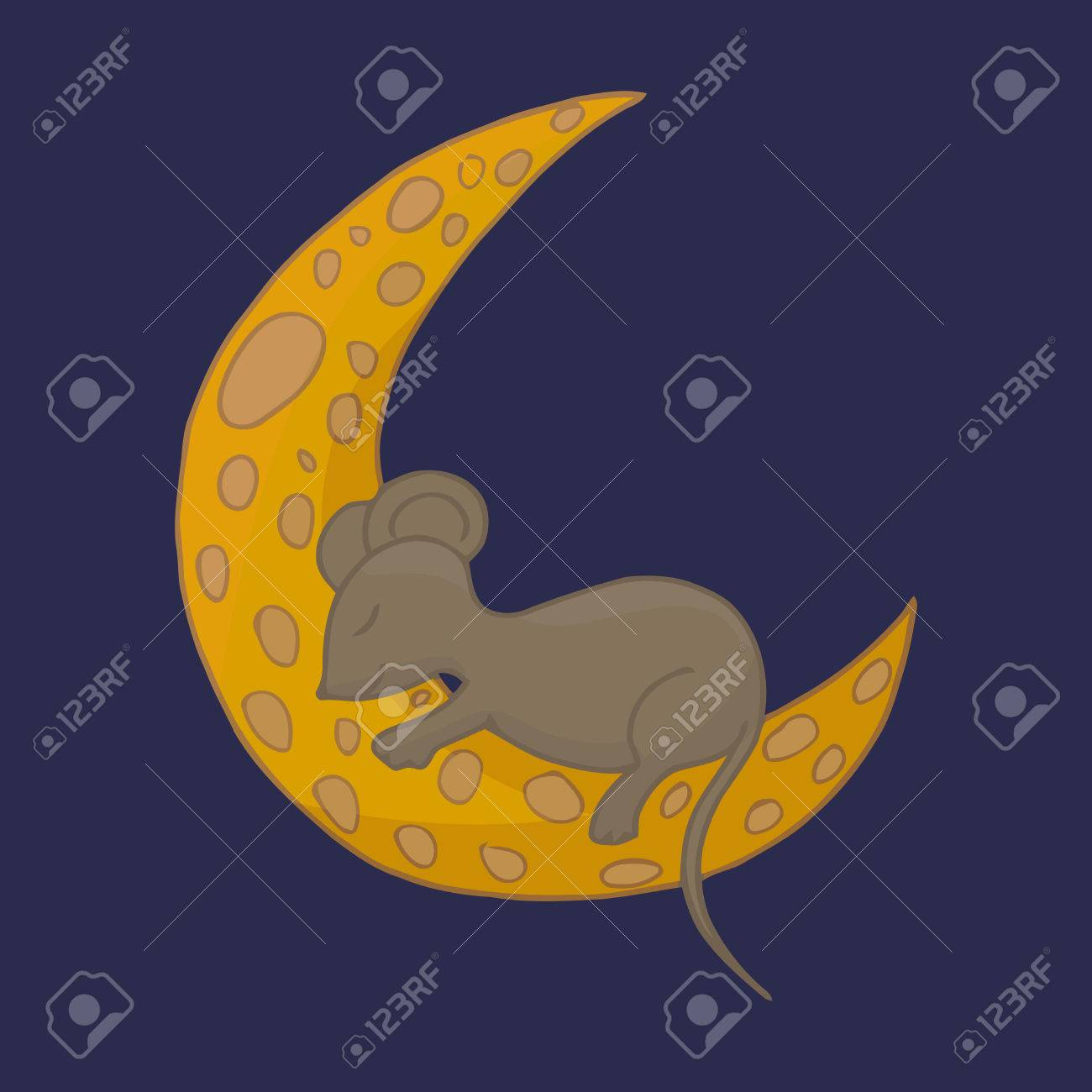 Little mouse is sleeping on the cheese moon fairy animal vector little mouse is sleeping on the cheese moon fairy animal vector illustration stock vector biocorpaavc