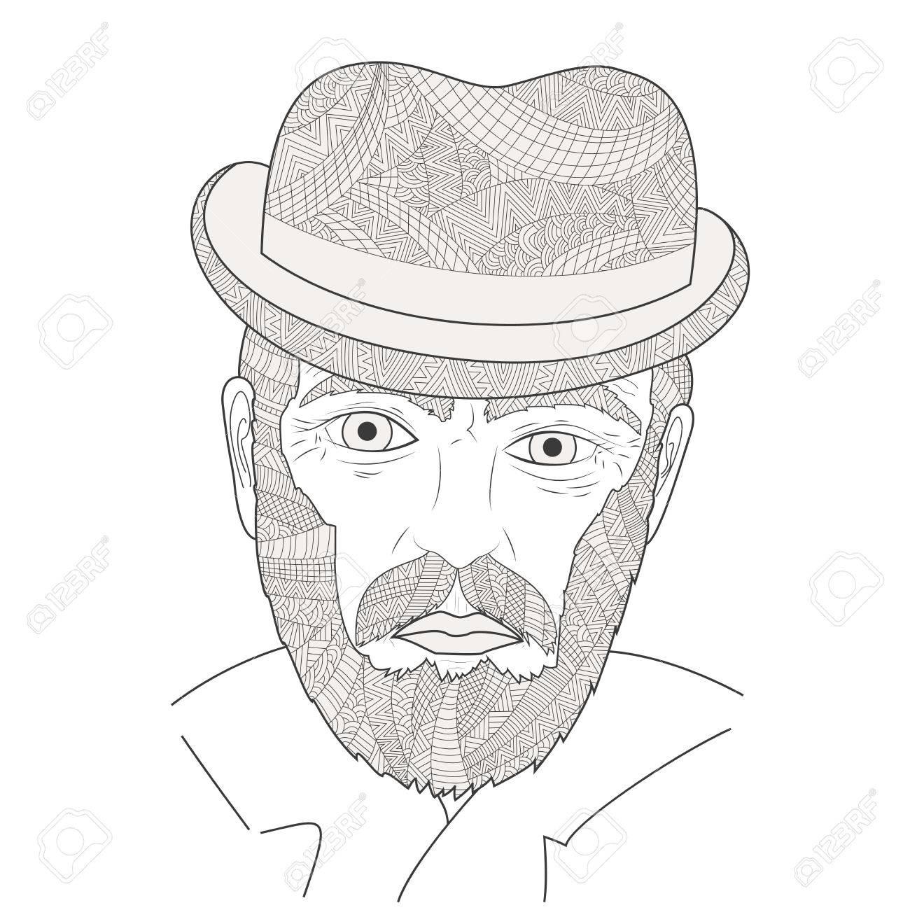 La Cara De Un Viejo Hombre Ilustración Vectorial. Abuelo Con Un ...