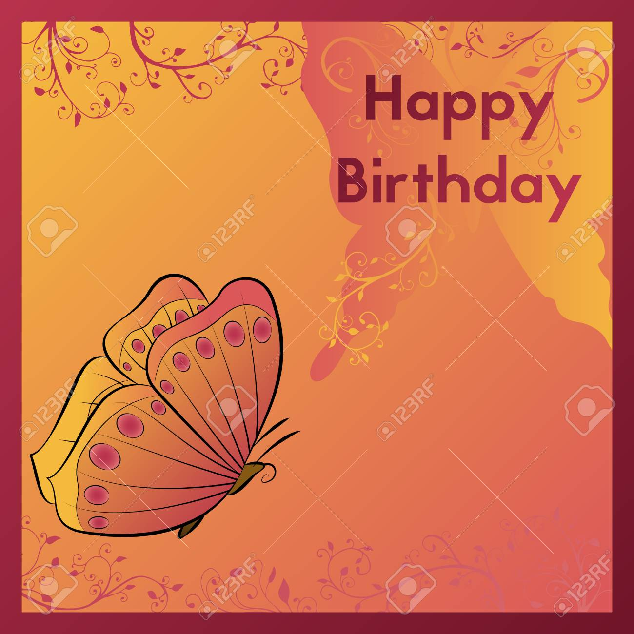 Happy birthday greeting card the postcard is decorated with happy birthday greeting card the postcard is decorated with an orange butterfly and leaves with m4hsunfo
