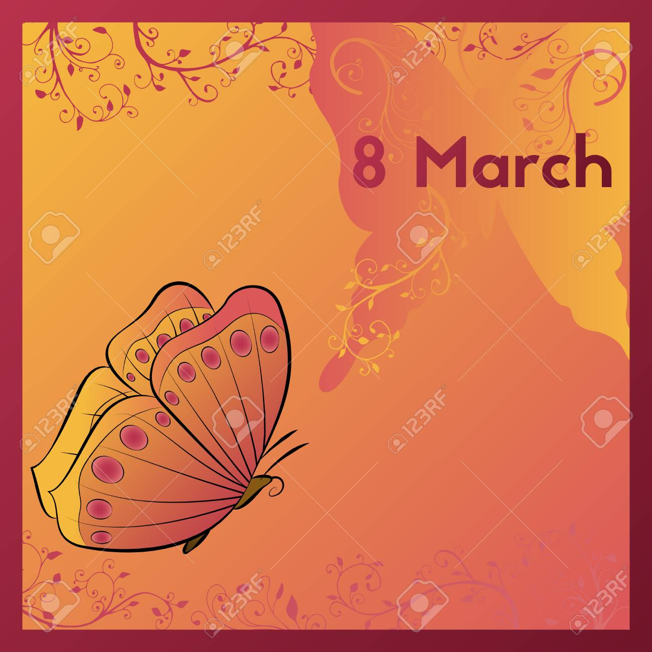 The Eighth Of March Greeting Card Template In Orange Colors