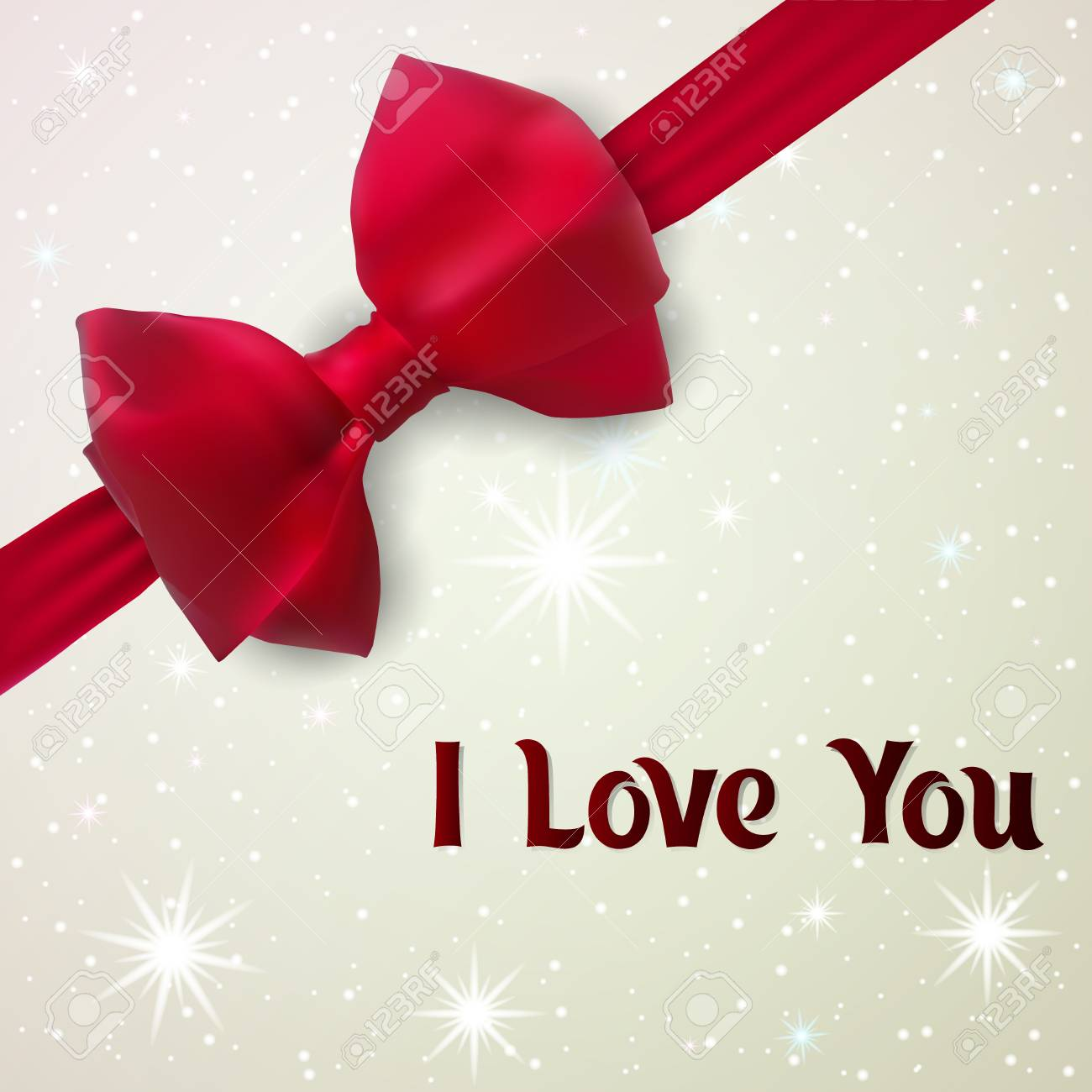 I Love You Greeting Card For Lovers E Card With Red Bow Vector