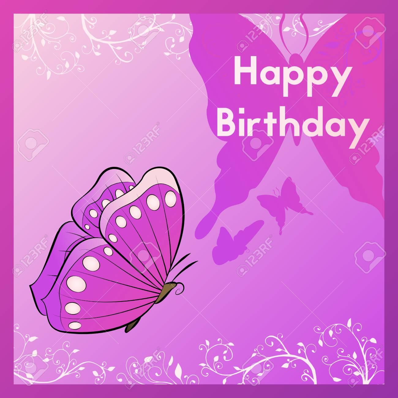 Carte De Voeux Joyeux Anniversaire Violet La Carte Postale Est Decoree D Un Papillon Violet Et Laisse Des Boucles Le Modele De Felicitations Pour L Illustration Vectorielle De L Occasion Clip Art Libres De Droits