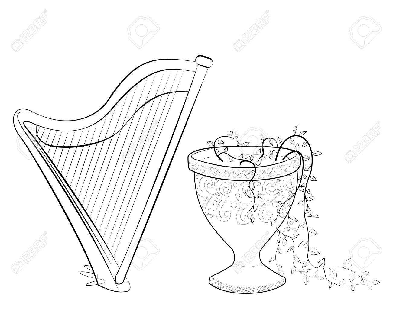 Libro Para Colorear En Blanco Y Negro Con El Arpa Y El Jarrón De Piedra Ilustración De Vector De Un Instrumento Musical De Cuerda Y Varem De Roca
