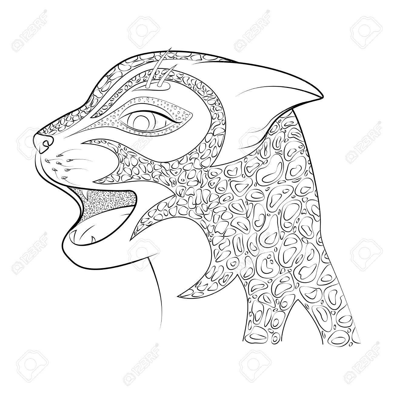 La Cabeza De Un Gato Salvaje Ilustración Vectorial. Guepardo Del ...