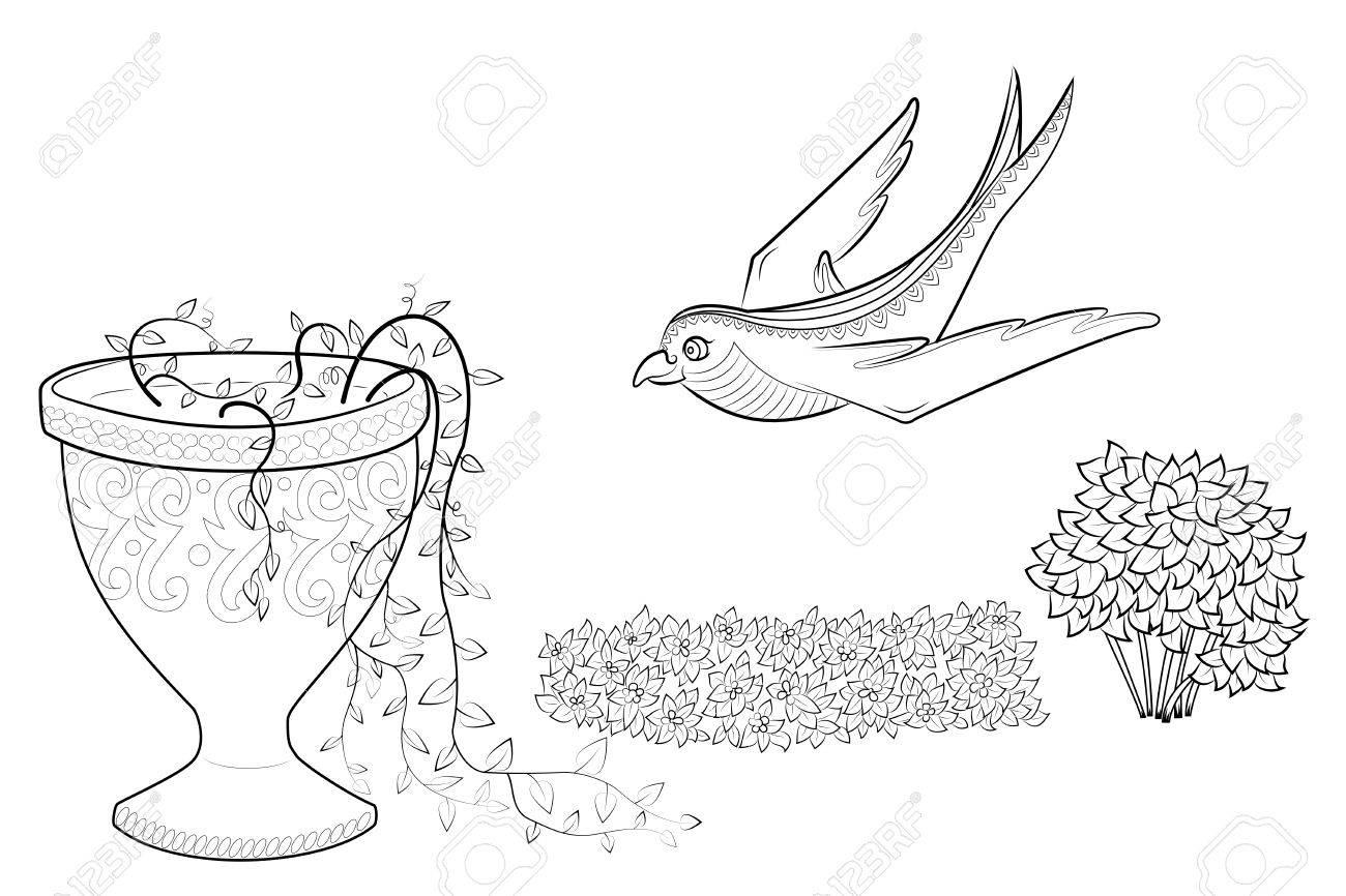 Fliegen Schwalbe Vektor Illustration. Zen Tangle Blumen in einer Vase.  Malbuch für Erwachsene mit der Natur und dem Vogel