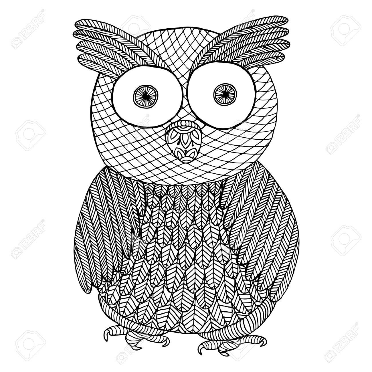 Buho Zendoodle. Zen Enredo Y Zen Doodle Pájaro Vector Ilustración ...