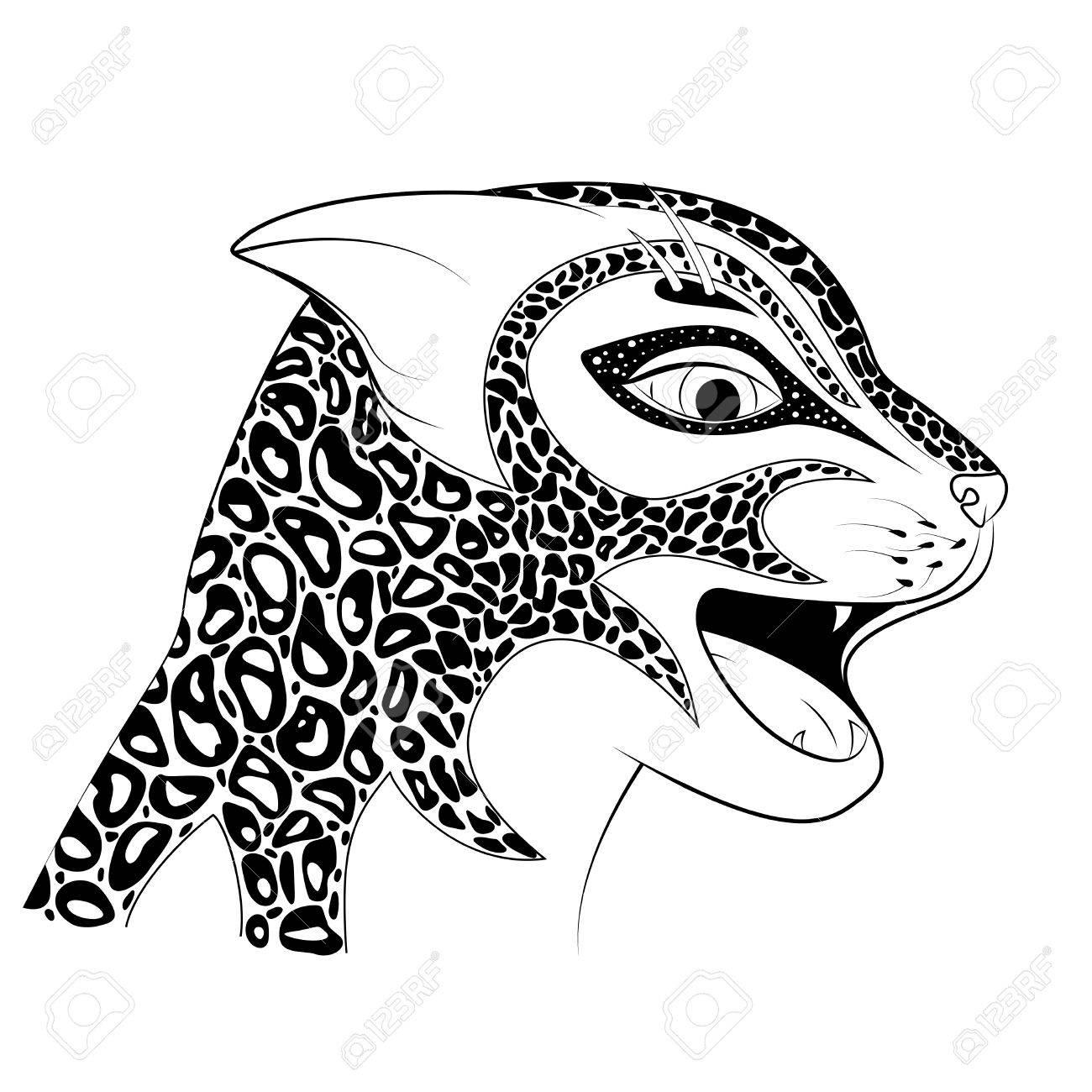 La Cabeza De Un Gato Salvaje Ilustración Vectorial. Zen Tangle Vio ...