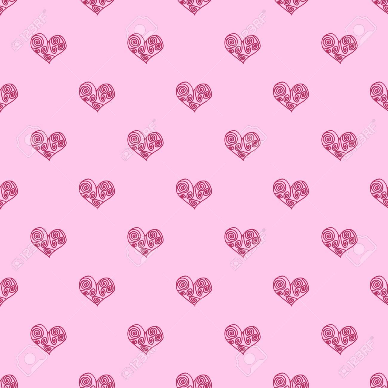 シームレスなパターン背景とハートのピンク 結婚の壁紙ベクター