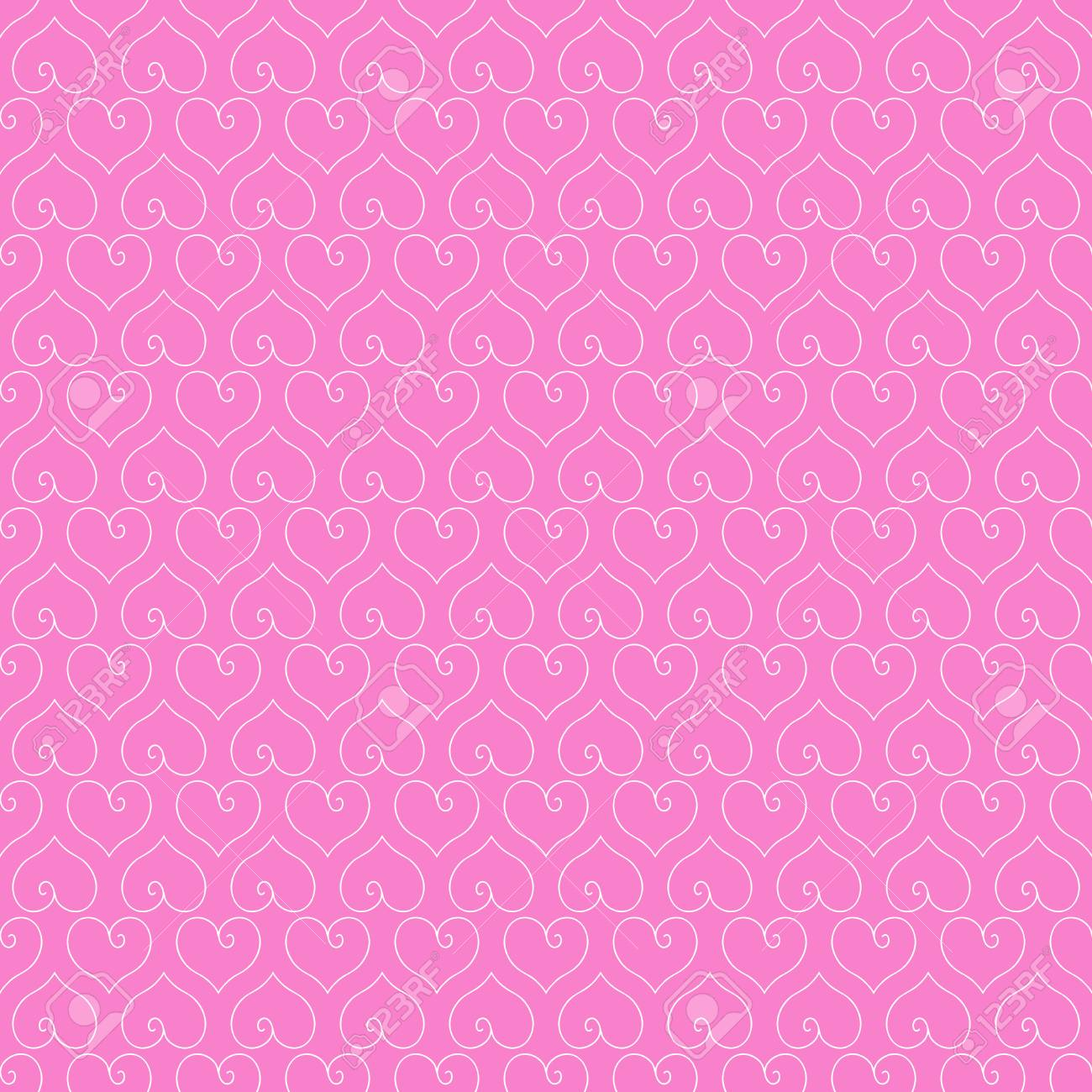 A Seamless Pink Background With White Hearts Love Wallpaper Vector Illustration Stock