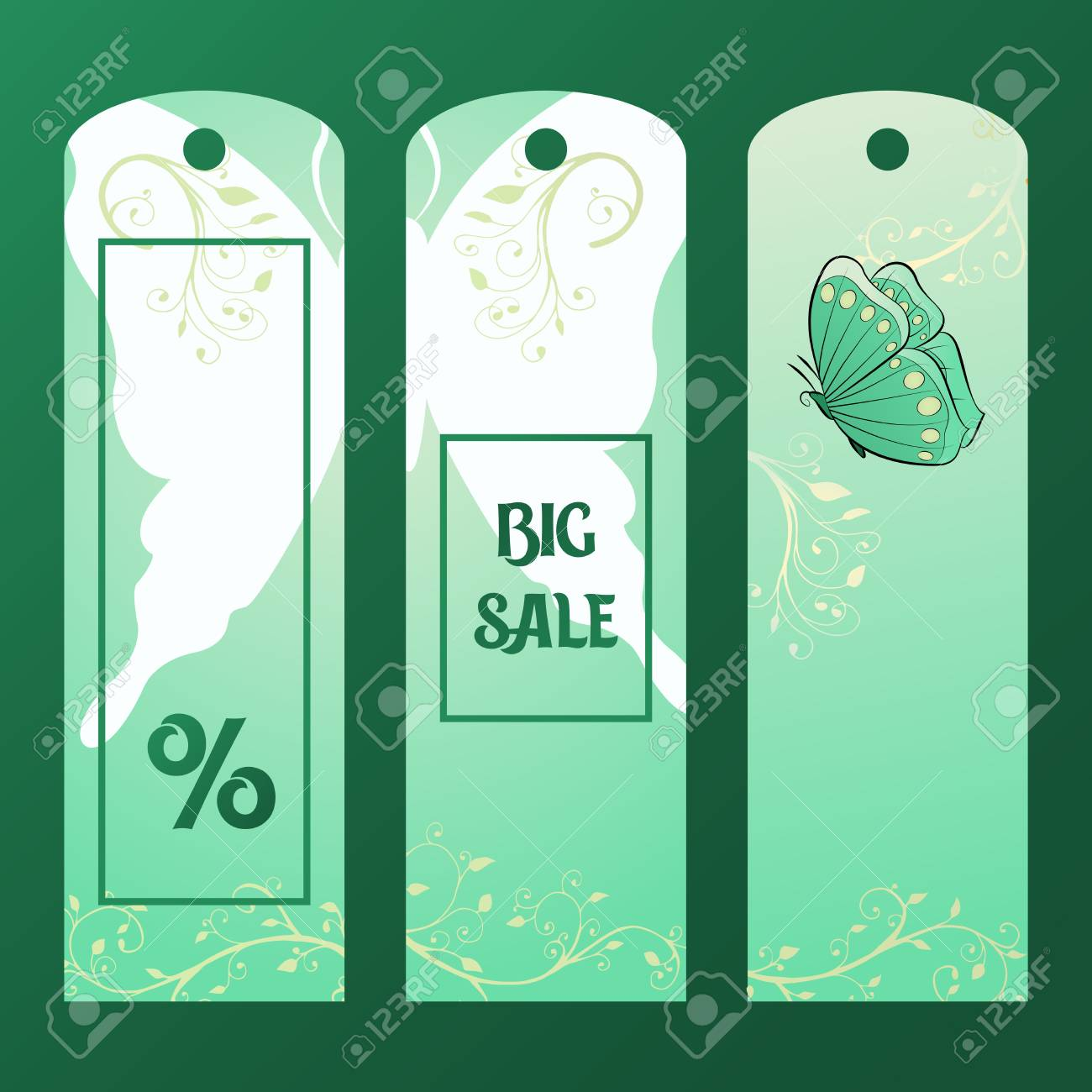 green paper tag for big sales with butterfly tag discount vector