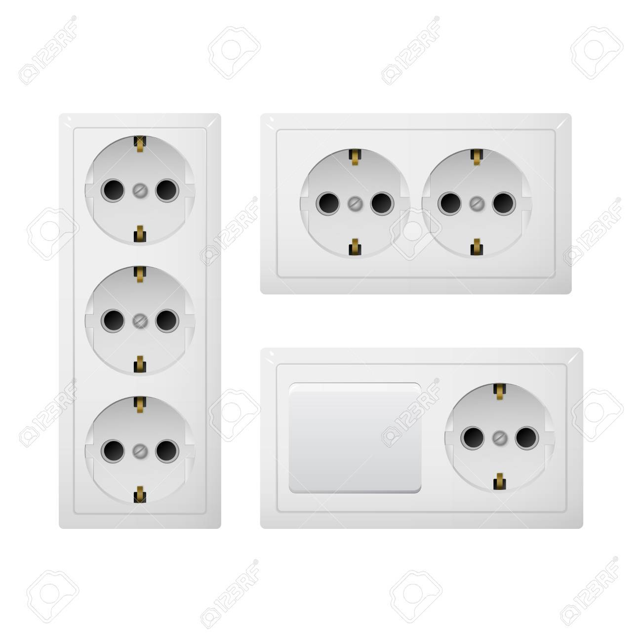Electrical Socket Type F With Switch. Power Plug Vector Illustration ...