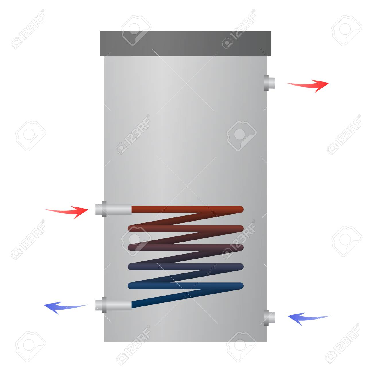 hot water heater vector illustration  internal parts  the heating circuit   the water flows