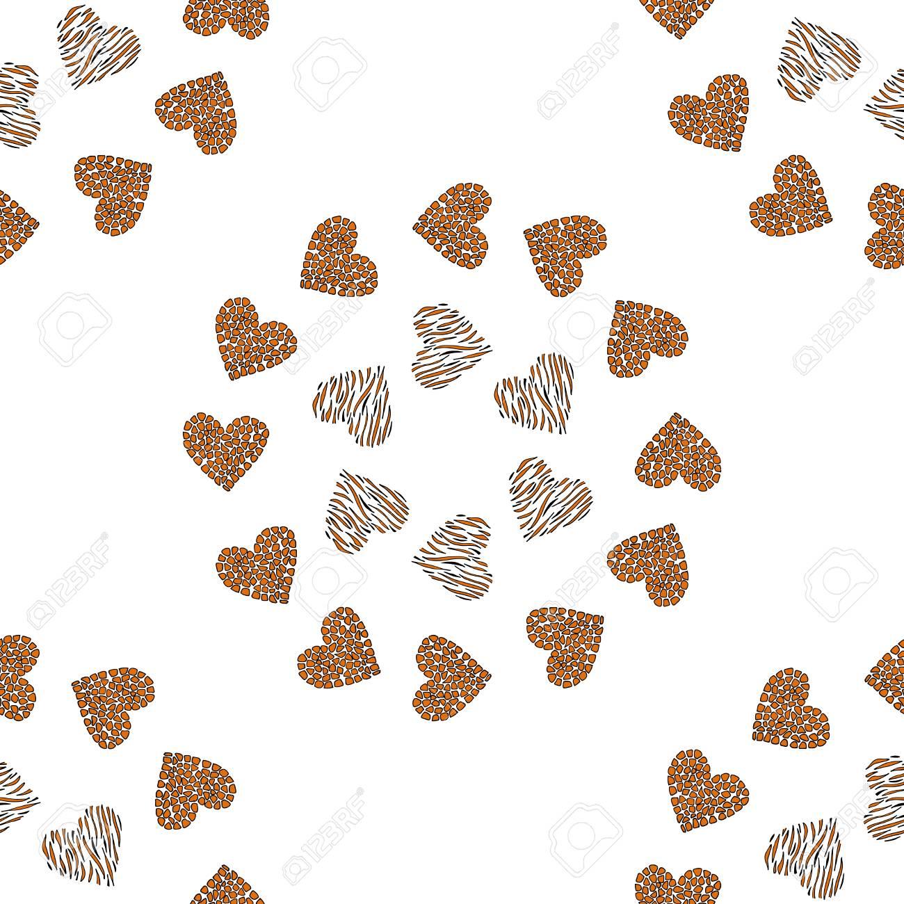心のシームレスなパターン背景 ヒョウ キリン柄肌 ロマンチックな壁紙のイラスト素材 ベクタ Image